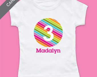 Personalized Striped Number Birthday Girl Tshirt