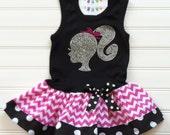 Custom Boutique Silhouette Tank Dress Rhinestone Dress Birthday Girl Dress Hot Pink Chevron dress Kids Available  6/9 months through 6/8