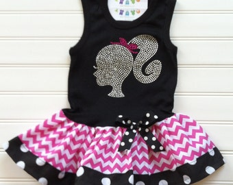 Custom Boutique Silhouette Tank Dress Rhinestone Dress Birthday Girl Dress Hot Pink Chevron dress Kids Available  6/9 months through 6/8