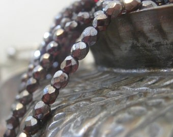 Czech Glass Beads Shiny Hematite Over Ruby  Faceted Fire Polished Beads 4mm 50 pieces
