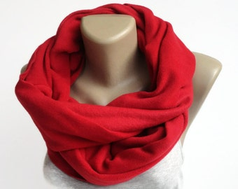 Red Fleece Scarf Infinity Scarf Women Fashion Accessories Gifts For Her gifts for women winter accessories  senoaccessory