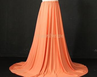 Long Skirt Maxi Skirt Full Length Skirt Jersey Aline Skirt Girl Ladies Women Skirt Orange Gifts Idea