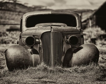 Fine Art Black and white sepia print of an abandon car in a ghost town in California