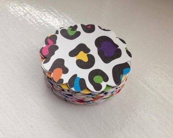 Rainbow ANIMAL PRINT 2 inch scallop or straight edge circles for cupcake toppers, tags, and scrapbooking - set of 24
