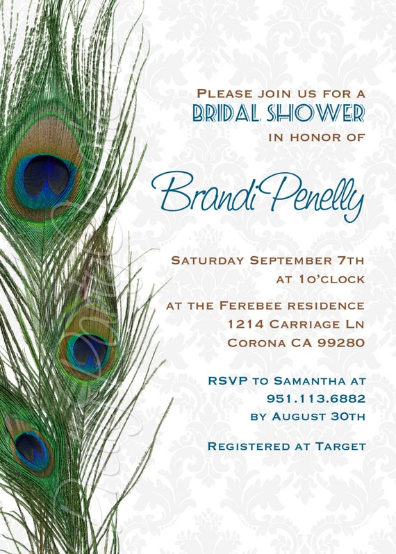 Damask Peacock Feathers Invitation Birthday Shower