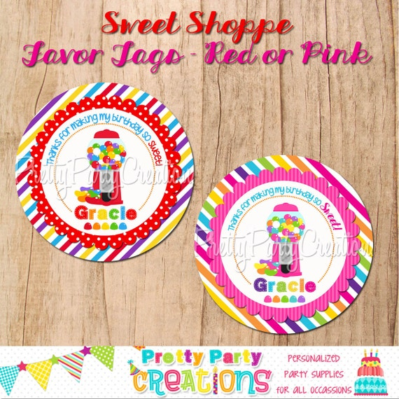 SWEET SHOPPE favor tags - U PRINT - pink or red - 2 to choose