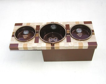 Three Bowl Feeder with Larger Water Bowl, elevated pet feeder, raised dog feeder, elevated cat bowls