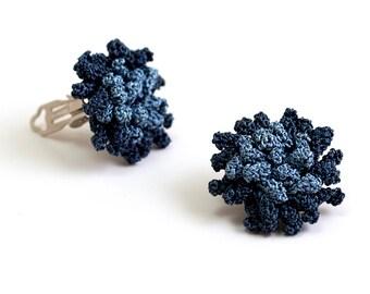 Earrings-Crochet Earrings,Pom Poms Earrings,Bohemian Jewelry,Clip On Earrings,Ethnic Jewelry,Rose Earrings,Ottoman Tile