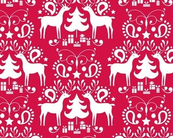 LAST PIECE Treelicious Rudolph in Red, Maude Asbury, Blend Fabrics, 100% Cotton Fabric, 101.112.05.3