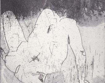 Male Nude, Etching, Aquatint by Marta Wakula-Mac, Intaglio Print, Printmaking, male Body, Naked, Gesture Drawing, Life Drawing, black&white