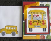 BUS DRIVER THANK You Card - primary colors - hand stamped
