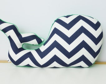 Whale Pillow, Modern Nautical Nursery Decor, navy chevron, navy and kelly green