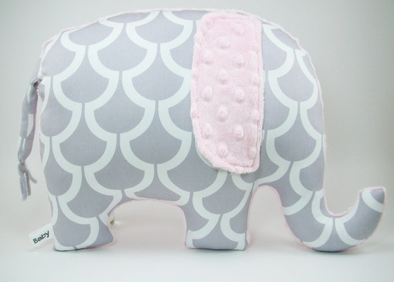 Modern Gray And Pink Nursery Decor Elephant Pillow By
