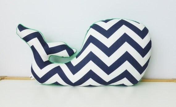 Sophisticated Modern Nautical Nursery: Whale Pillow Modern Nautical Nursery Decor Navy Chevron