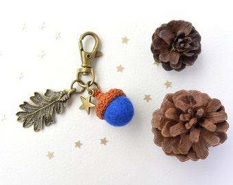 Brass keychain with Blue felt acorn and leaf. Woodland keychain.