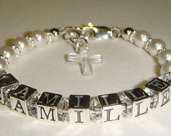 Little Girl's Bracelet - First Communion - Swarovski Pearls, Sterling Silver - Charm Choice - 4 - 13 year old