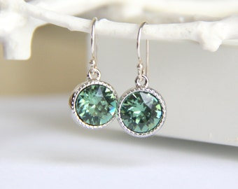 Green Swarovski Crystal Earrings 27 Colors to Choose From - Gift for Her
