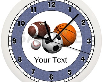 Personalized Blue, Red or Green FOOTBALL WALL CLOCK