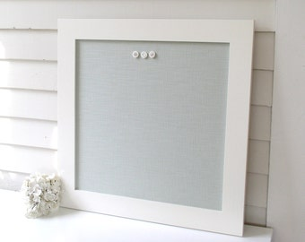 MAGNETIC BOARD Bulletin Board - 24 x 24 Framed Magnet Memo Board - Deluxe Size with Handmade Modern Frame and Spa Blue Green Fabric