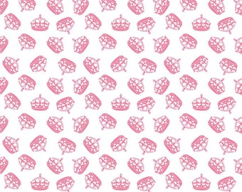 Hollywood Sparkle Crowns in Hot Pink from Riley Blake - 1 yard
