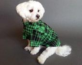 Green Plaid Fleece Dog Sweater in 2 Leg or 4 Leg Style Dog Clothes - WaggleWear