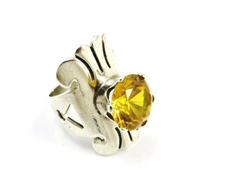 Vintage Citrine Ring, Antonio Pineda Jewelry,  Sterling Silver Ring, Taxco HILDA, Yellow Stone Ring, Mid Century Modern Jewelry, Size 6