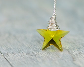 Crystal Star Necklace, 20mm Yellow Star Swarovski Necklace, Wire Wrapped Necklace, Jewelry Sterling Silver, Yellow Star Necklace