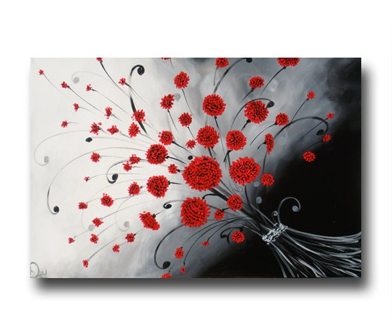 Poppies Hand Painted Black And White