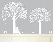 wall art - bedroom decor - Nursery wall decal - Tree with Birds - Childrens Wall Decal - girl reading decal