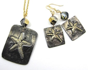 Gold Starfish Art Metal and Crystal Necklace and Earrings