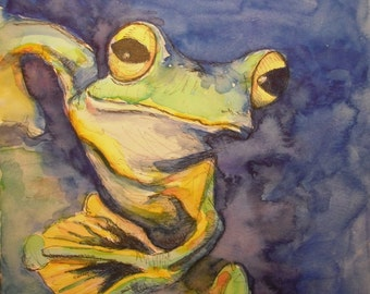 Watercolor painting of tree frog.
