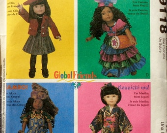 McCall's Crafts Sewing Doll Clothes Wardrobe Pattern 9118 GLOBAL FRIENDS - Fits American Girl Our Generation Carpatina Gotz Dolls