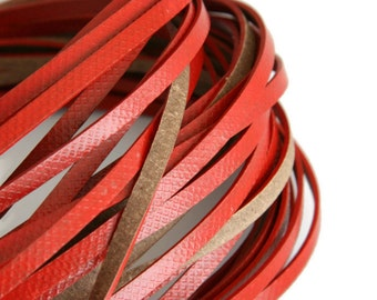 4mm Red Flat Leather, Genuine Red Flat Leather Lace Cord Wide Strap Lace, Licorice Bracelet S 40 095