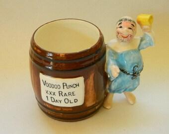 MUG, Vintage VOODOO PUNCH Ceramic Barrel Mug