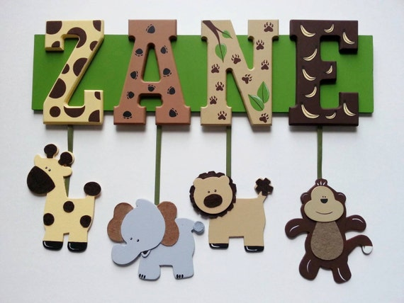 4 LETTER name - Any Theme-Painted Wooden Hanging Name Sign - Zoo, Princess, safari, sports
