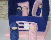 Handmade Blue/Pink Cozy Cottage Felt House with 5 Peg People, Cradle and Baby Bed
