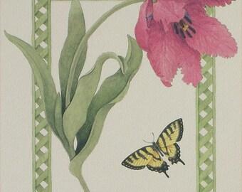 Art Prints, High Quality, Artwork Grouping, Set of 4 Flowers Drawings with Green Trellis Border, Peony, Rose, Hydrangea, Tulip