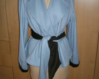 Anne Klein New York Blue and Black Cashmere Jacket with Tie/ Scarf