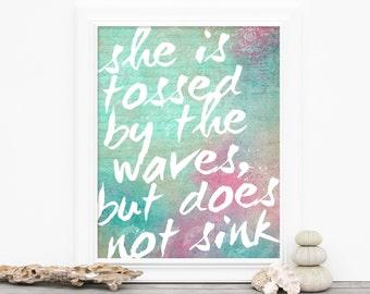 Inspirational Mermaid Typography Poster Art Print Motivational Art Beach Inspired Pastel Aqua Mint Pink Pastels Ocean Watercolor Art