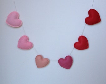 Heart Garland, banner---Ombré, pinks, reds--photo prob, wedding prop, nursery decor