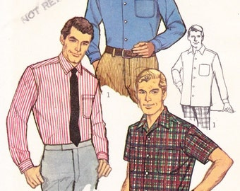 """... Button Down Shirt Simplicity 7745 Chest 36"""" Vintage Sewing Pattern"""