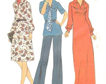 "1970s Misses Cocktail or Formal Dress or Top and Scarf Womens Vintage Sewing Pattern Simplicity 7181 Bust 33-35""Size 10.5-12.5"