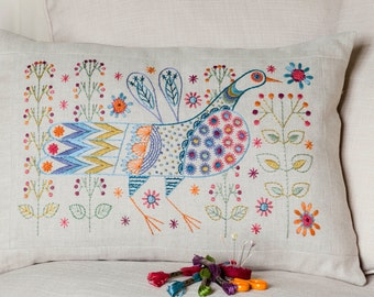 Long Tail Bird Cushion Embroidery Kit