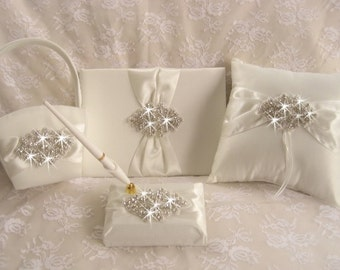 Flower Girl Basket, Ring Pillow, Wedding Guest Book,  with Pen Set  -  Rhinestones and Satin Ivory or White