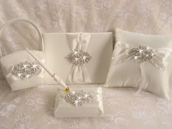 Flower Girl Basket Ring Pillow Wedding Guest Book With Pen Set