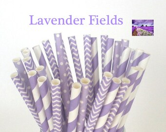 "Paper Straws ""LAVENDER FIELDS"" Party Mix Paper Drinking Straws Cake Pop Sticks Mason Jar Paper Straws Wedding, Birthdays"
