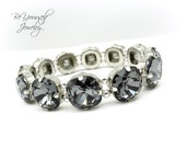 Dark Grey Bridal Bracelet Charcoal Wedding Bracelet Swarovski Crystal Silver Night Bride Bracelet Chunky Bracelet Gray Black Bridesmaid Gift