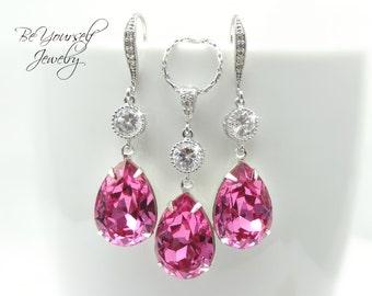 Pink Bridal Earrings Teardrop Bride Necklace Swarovski Crystal Rose Wedding Jewelry Hot Pink Bridesmaid Gift Cubic Zirconia Bridal Jewelry