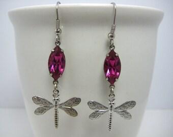 Swarovski Crystal Earrings Fuchsia Dragonfly in Silver Settings