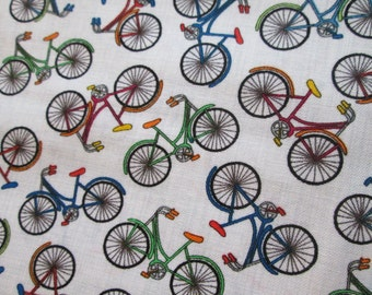 Bicycles Mini Bikes Colors White Cotton Fabric Fat Quarter or Custom Listing